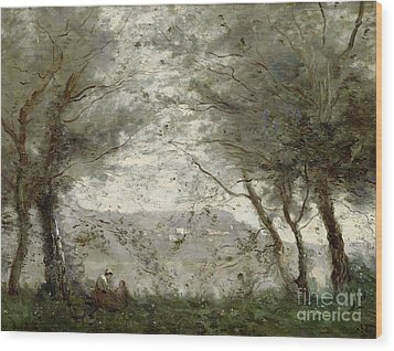 The Pond Wood Print by Jean Baptiste Corot