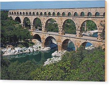 The Pont Du Gard Wood Print by Sami Sarkis