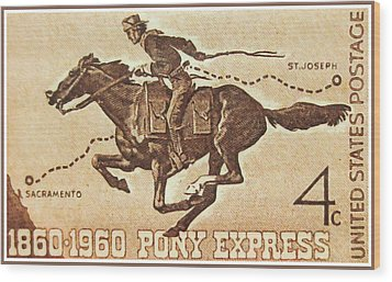 The Pony Express Centennial Stamp Wood Print by Lanjee Chee