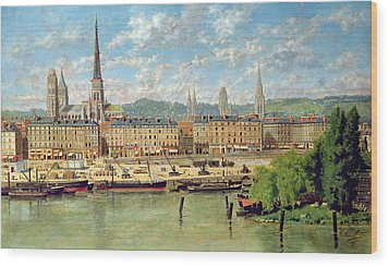 The Port At Rouen Wood Print by Torello Ancillotti