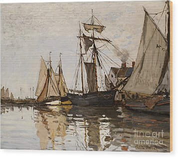 The Port Of Honfleur Wood Print by Claude Monet