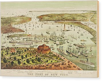 The Port Of New York Harbor Wood Print by Pg Reproductions