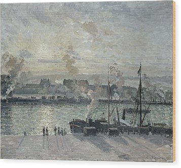 The Port Of Rouen Wood Print by Camille Pissarro