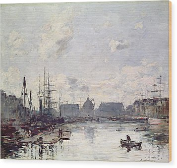 The Port Of Trade Wood Print by Eugene Louis Boudin