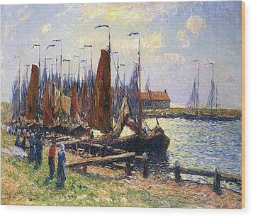 The Port Of Volendam Wood Print by Henry Moret