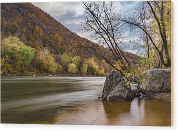 The Potomac In Autumn Wood Print