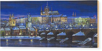 The Prague Panorama Wood Print by Yuriy  Shevchuk