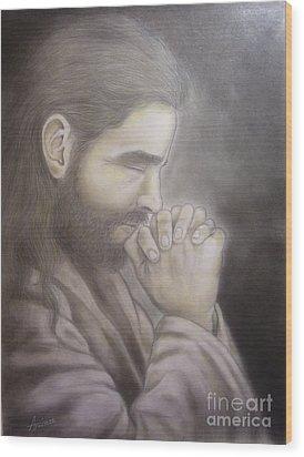 The Prayer Wood Print by Oscar Arauz