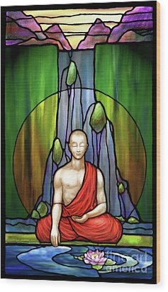 The Praying Monk Wood Print