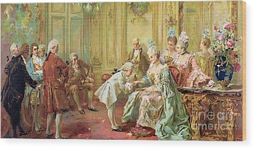 The Presentation Of The Young Mozart To Mme De Pompadour At Versailles Wood Print by Vicente de Parades