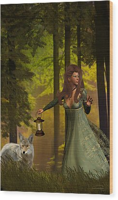 The Princess And The Wolf Wood Print by Emma Alvarez