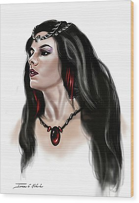 Wood Print featuring the painting The Princess Morgana by James Christopher Hill