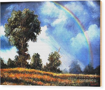 Wood Print featuring the painting The Promise  by Hazel Holland