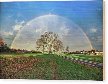 Wood Print featuring the photograph The Promise - Suburban Rainbow by Gregory Ballos