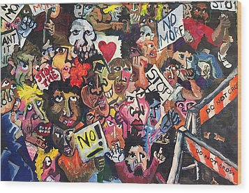 Wood Print featuring the painting The Protest  by Jame Hayes