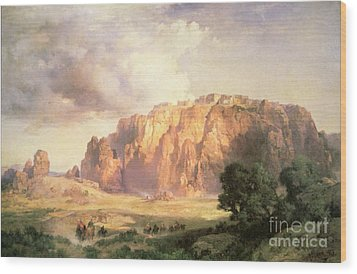 The Pueblo Of Acoma In New Mexico Wood Print by Thomas Moran