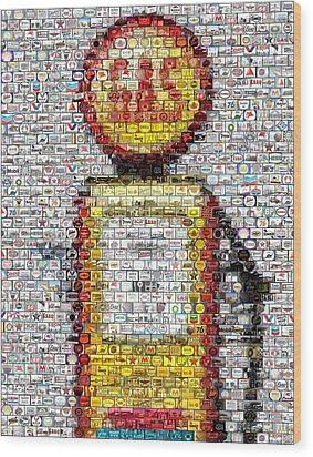 The Pump Mosaic Wood Print by Paul Van Scott