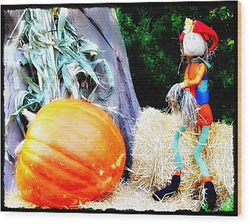 the Pumpkin and the Scarecrow Wood Print by Bill Cannon
