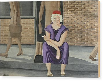 The Purple Dress Wood Print by Georgette Backs