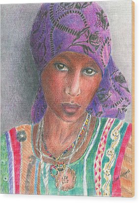 The Purple Scarf  Wood Print by Arline Wagner