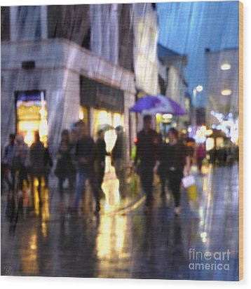 Wood Print featuring the photograph The Purple Umbrella by LemonArt Photography