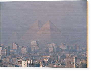 The Pyramids At Giza And Cairo Wood Print by Martin Gray