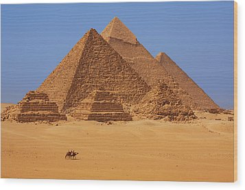 The Pyramids In Egypt Wood Print by Dan Breckwoldt