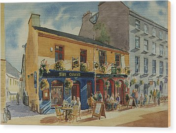 The Quays Pub Galway Wood Print by Tomas OMaoldomhnaigh