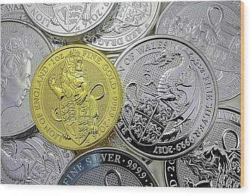 Wood Print featuring the photograph The Queens Beast Gold And Silver Coins by JC Findley