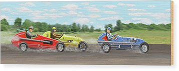 Wood Print featuring the digital art The Racers by Gary Giacomelli