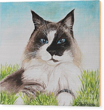 Wood Print featuring the painting The Ragdoll by Elizabeth Robinette Tyndall