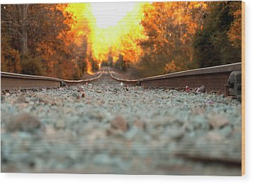 Wood Print featuring the digital art The Railroad Tracks From A New Perspective by Chris Flees