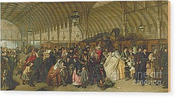 The Railway Station Wood Print by William Powell Frith