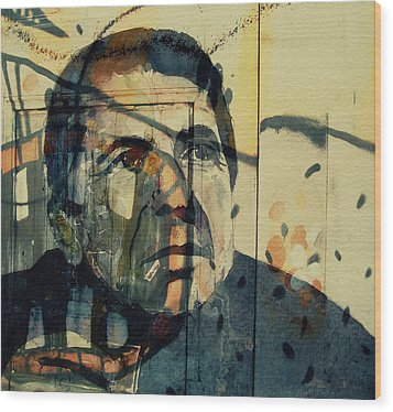 Wood Print featuring the painting The Rain Falls Down On Last Years Man  by Paul Lovering