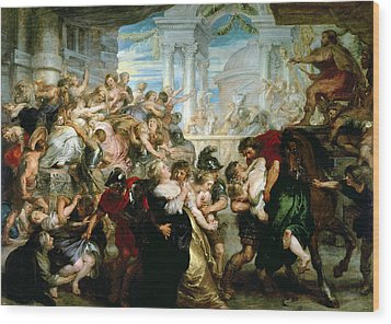 The Rape Of The Sabine Women Wood Print by Peter Paul Rubens