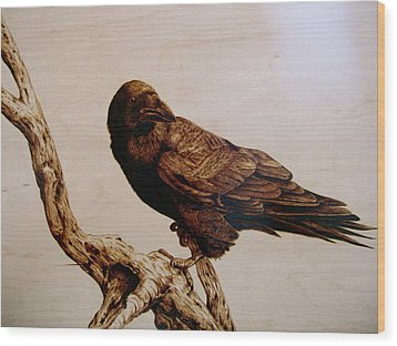 Wood Print featuring the drawing The Raven by Adam Owen