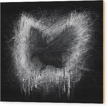 The Raven - Black Edition Wood Print