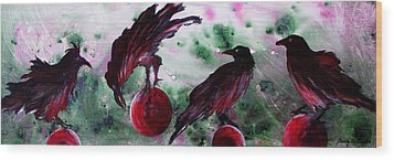 The Raven Still Beguiling Wood Print by Sandy Applegate