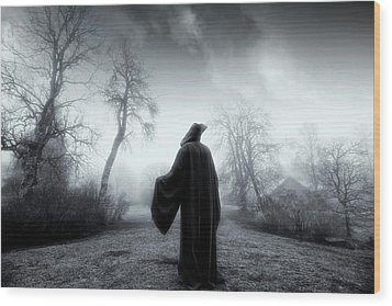 Wood Print featuring the photograph The Reaper Moving Through Mist And Fog by Christian Lagereek
