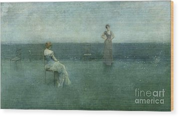 The Recitation Wood Print by Thomas Wilmer Dewing