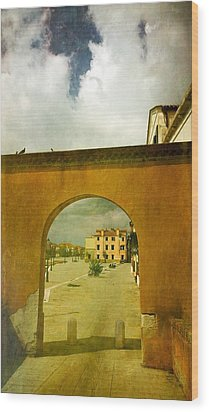 Wood Print featuring the photograph The Red Archway by Anne Kotan