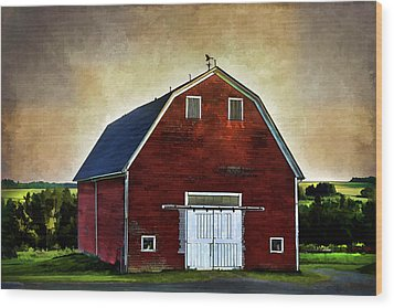 Wood Print featuring the mixed media The Red Barn by Gary Smith