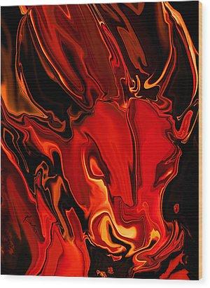 Wood Print featuring the digital art The Red Bull by Rabi Khan