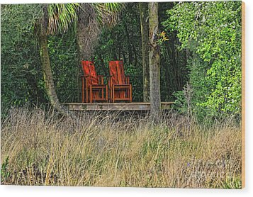 Wood Print featuring the photograph The Red Chairs by Deborah Benoit