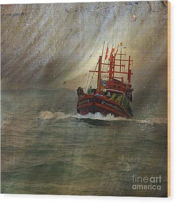 Wood Print featuring the photograph The Red Fishing Boat by LemonArt Photography
