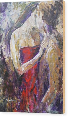 The Red Kiss Wood Print by Beth Maddox