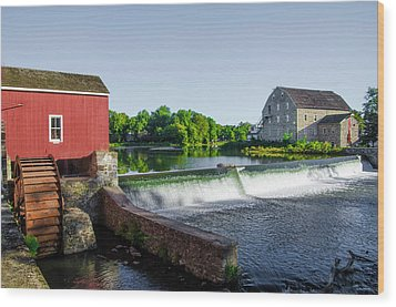 The Red Mill  On The Raritan River - Clinton New Jersey  Wood Print by Bill Cannon
