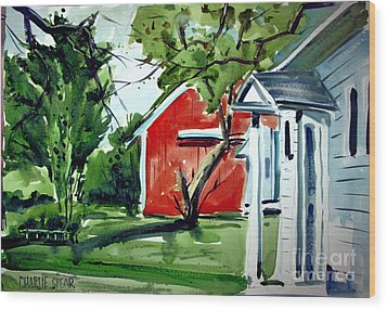 Wood Print featuring the painting The Red Oxide Barn Matted by Charlie Spear