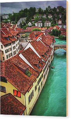 Wood Print featuring the photograph The Red Rooftops Of Bern Switzerland  by Carol Japp
