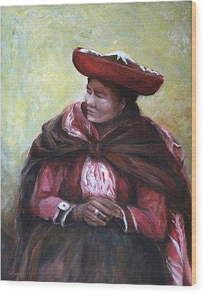 The Red Shawl  Wood Print by Jun Jamosmos